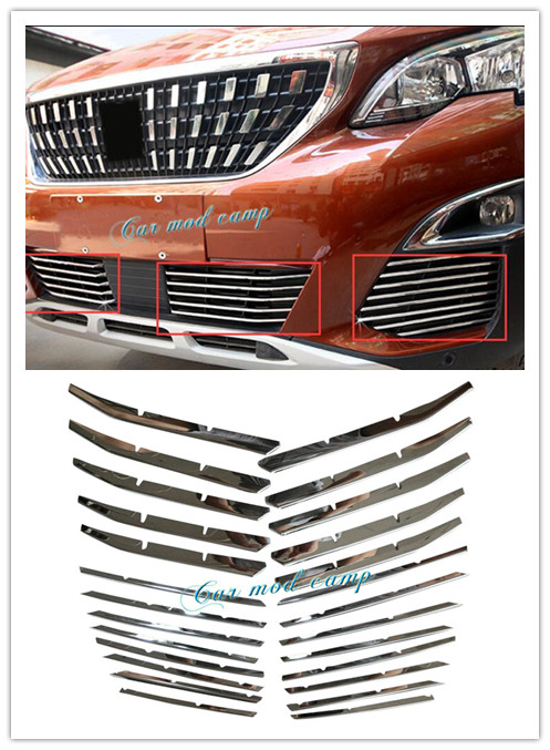 For Peugeot 3008 GT 2017 2018 Stainless Steel Front Bottom Grille Grill Front Fog Light Cover