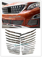Stainless Steel Front Bottom Grille Grill Front Fog Light Lamp Cover Decoration Trim For PEUGEOT 3008GT