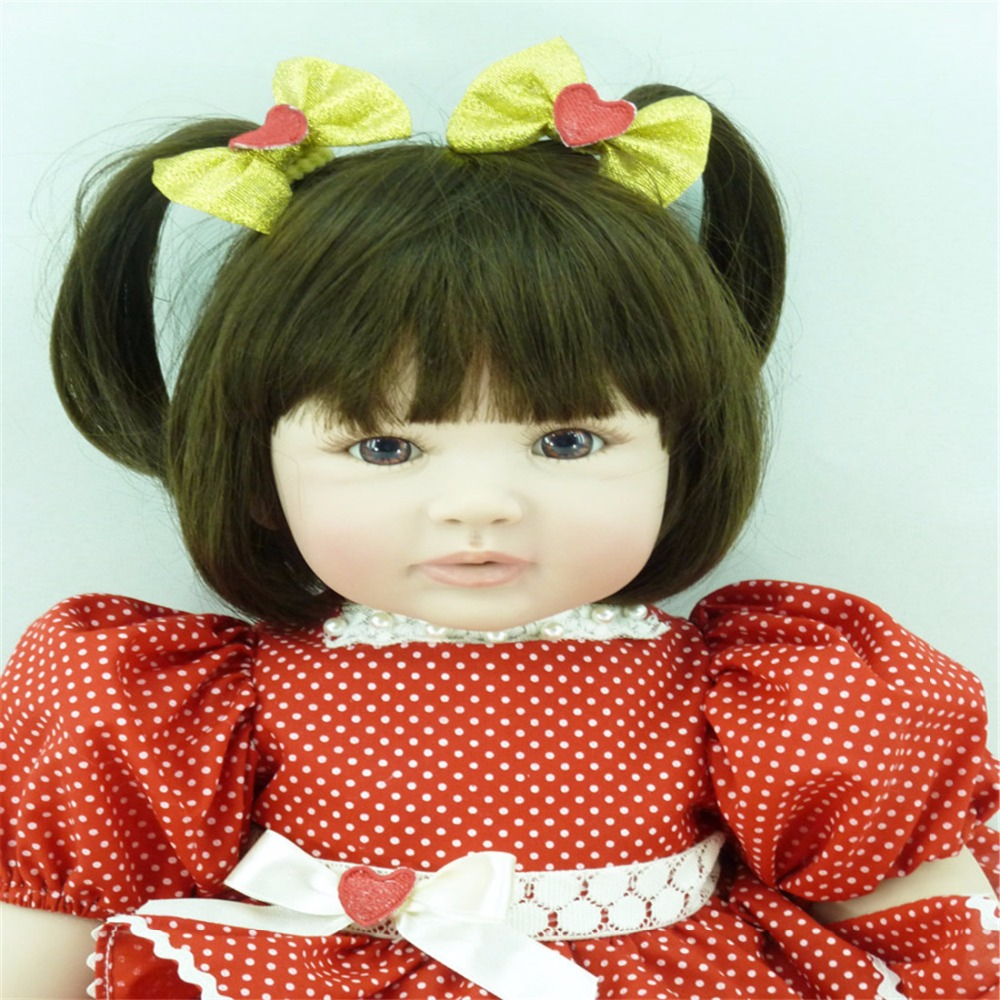 22 inch 55cm Silicone baby reborn dolls Children's toys red dot princess skirt short hair girl szjinao cute genuine 100