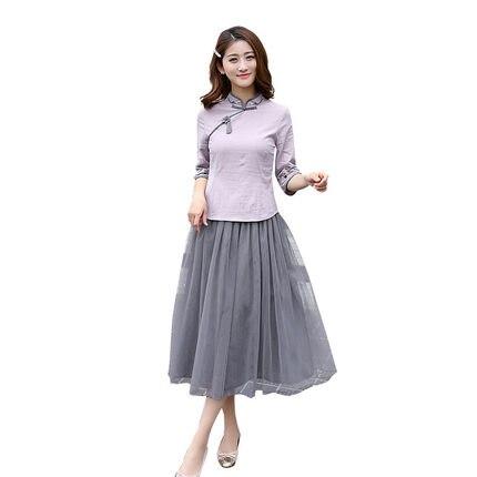 Chinois Style Vintage famille correspondant vêtements maman et fille robe d'été Hanfu demi manches mère fille Qipao robes Z835