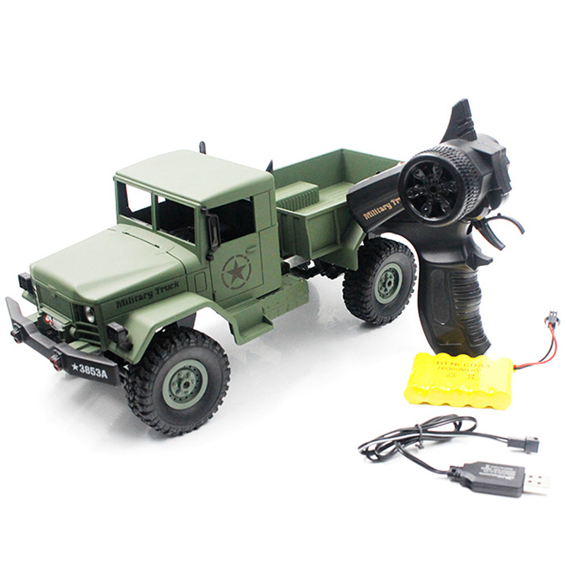 Super Bright LED Lights Climb RC Cars 1:16 Mini Off-Road RC Military Truck RTF With Four-Wheel Drive Kids Toys HENG LONG 3853A