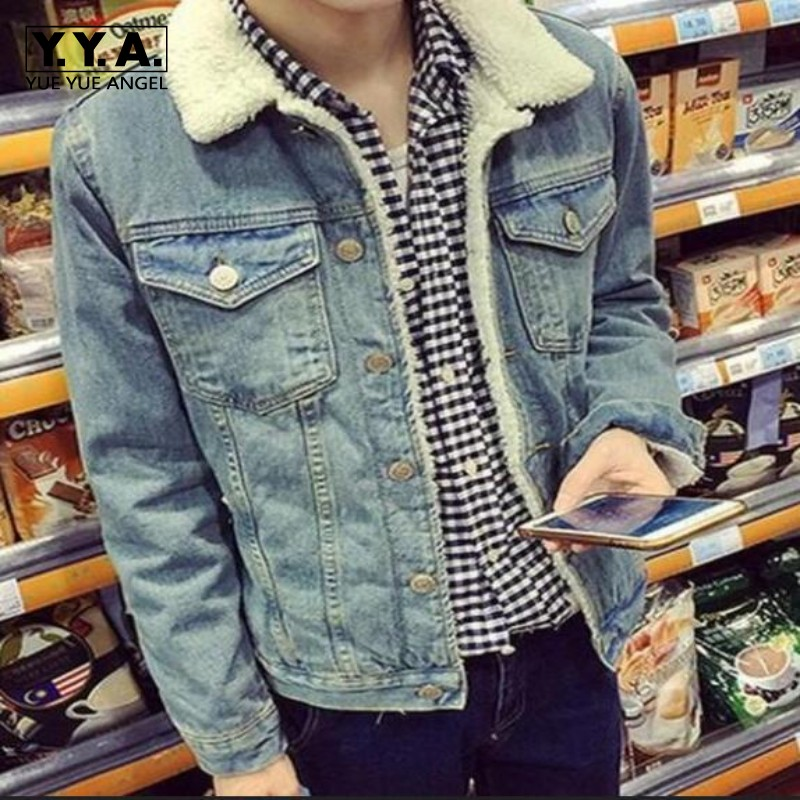 2016 Autumn Winter New Mens Fur Lining Fleece Jacket Fashion Slim Fit Motorcyle Jean Jacket Denim