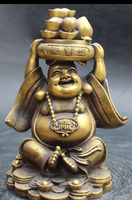 10 Китайский Бронзовый Юань бао Сокровищ Чаша Счастливый Смех Большая Статуя Будды
