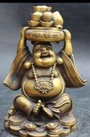 10 Chinese Bronze Yuan bao Treasure Bowl Happy Laugh Big Buddha Statue