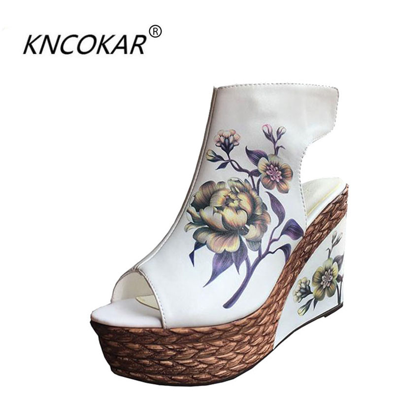 цена на High heel sandals women summer cool new fund wedge bottom thick waterproof boots fish mouth shoes national wind short boots