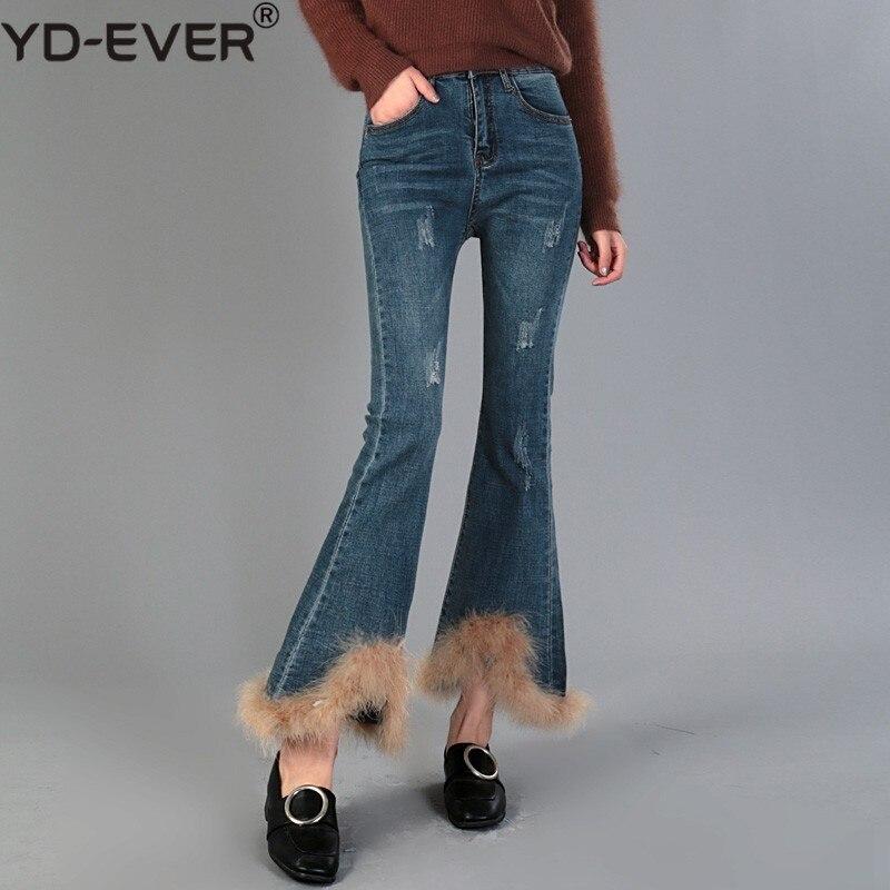 Pantalons Cheville Coréenne Fourrure 2019 Bleu Haute Ourlet De Longueur ever Taille Mode Jeans Yd Printemps Marée Denim Patchwork Femmes Pour Femelle xEZFwP