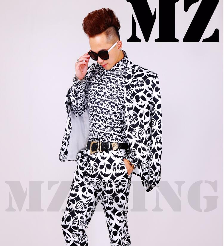 Male Singer DJ Fashion Blazers Nightclubs Guests Star Same Style clothes Black And White Skeleton Suits Men Brand Costumes