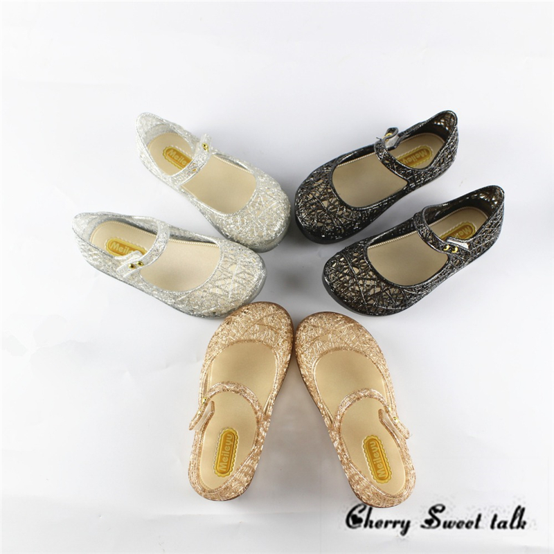 Mini Melissa garden Crystal Shoes 2018 girls sandals Mesh Hole Shoes Girls Melissa Sandals Jelly Shoes Sandals Shoes For Girls