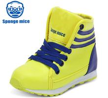 Kids Shoes PU leather waterproof Breathable children shoes lightweight high top casual shoes