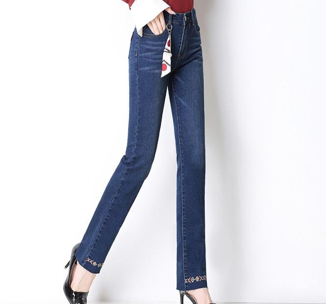 Blue Bleach Wash High Waist Jeans Woman Denim Trousers Women Casual Pants Capris 2019 Female Stretch Flare Leg Jeans