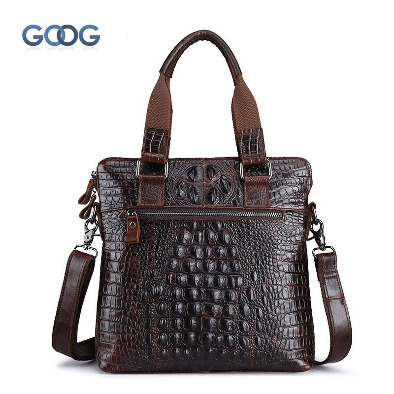 Leather men's bag men's business vertical section cowhide crocodile pattern handbag oil wax head layer cowhide shoulder Messenge