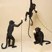 Modern Black Monkey Lamp Resin Hemp Rope Seletti Monkey Lamp White Living Room Monkey Lights In Pendant Lights Hanging Lamp E27