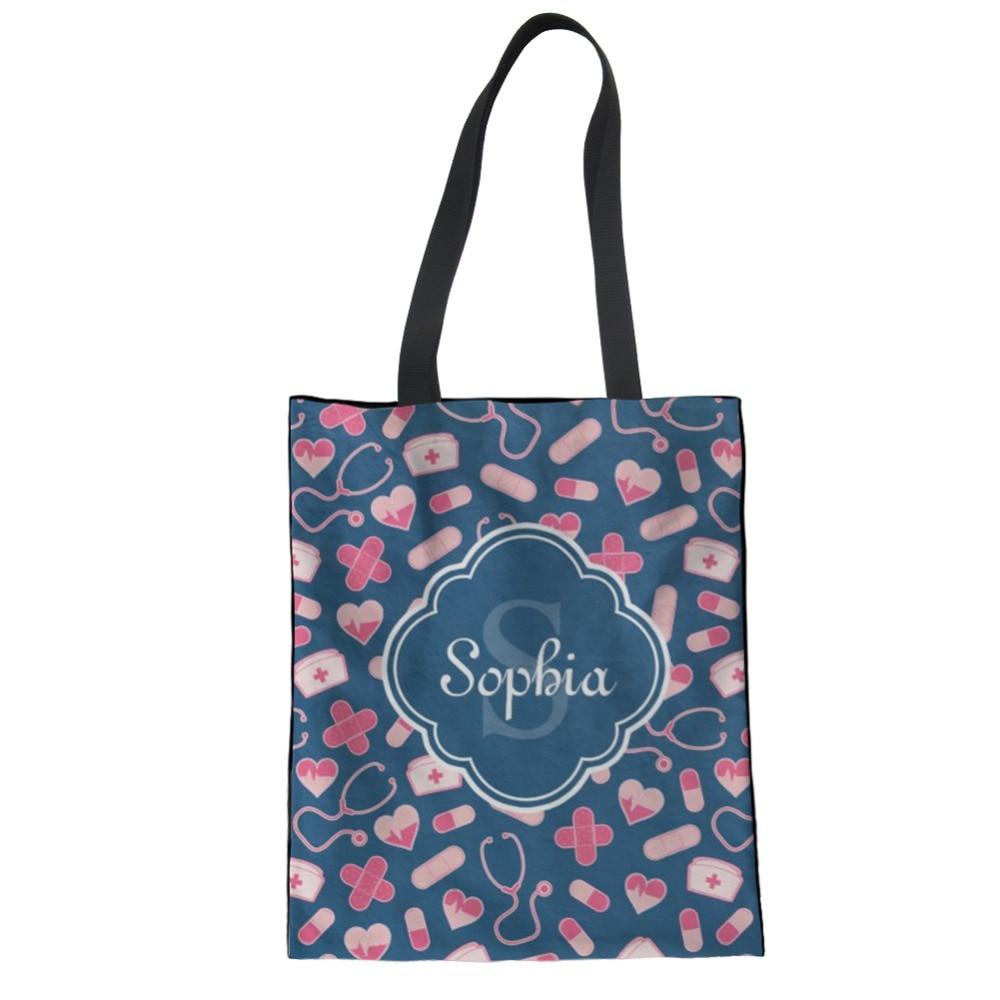 NoisyDesigns Women Sac Shopping Bag Cartoon Nurse Kawaii Canvas Handbag  Border Collie Print Women s Portable Shoulder Tote Bag-in Shopping Bags  from Luggage ... 3c501a8d0f