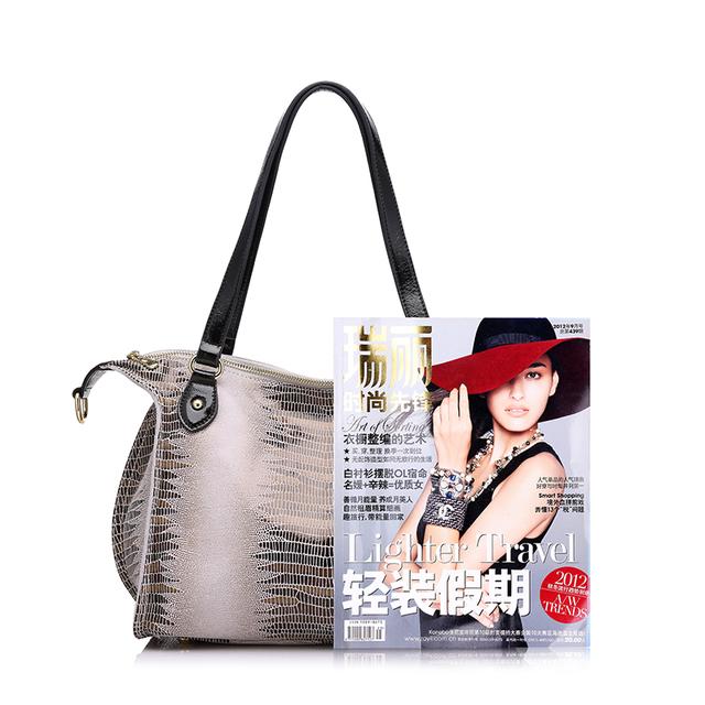 REALER brand fashion women genuine leather shoulder bags high quality crocodile pattern leather handbags female tote bag 2017