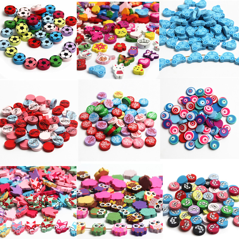 20pcs Lovely Variety Style Wooden Beads Spacer Beading Wood Beads For Jewellery Findings Toys For Baby DIY Crafts Kids Toys