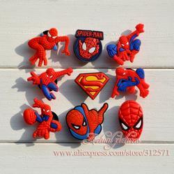 Бесплатная доставка! 18 шт./лот/партия, украшения для обуви из ПВХ с изображением Человека-паука