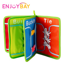 Enjoybay Baby Montessori Toys Learning Dressing Cloth Book Aids Button Lace Tie Jigsaw Board Early Educational Toys for Children