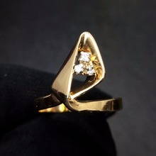 Diamond Ring 0.13ct Pure 14 K Real Gold Jewelry 100% Natural