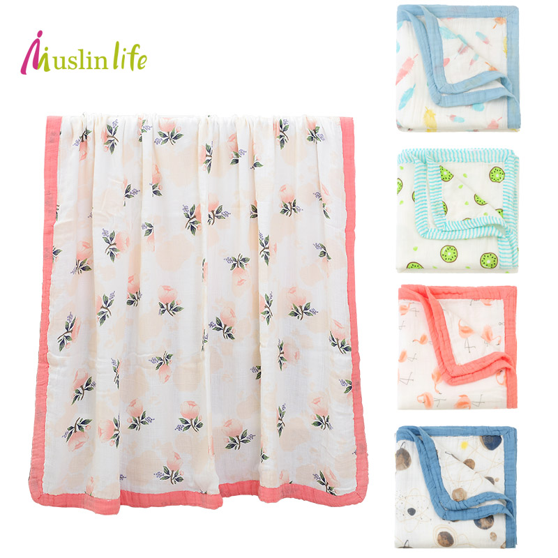 Muslinlife 2017 Multifunctional Double Layers Baby Blanket for Spring Autumn,Newborn Baby Blanket, Cotton Bamboo Muslin Swaddle цена