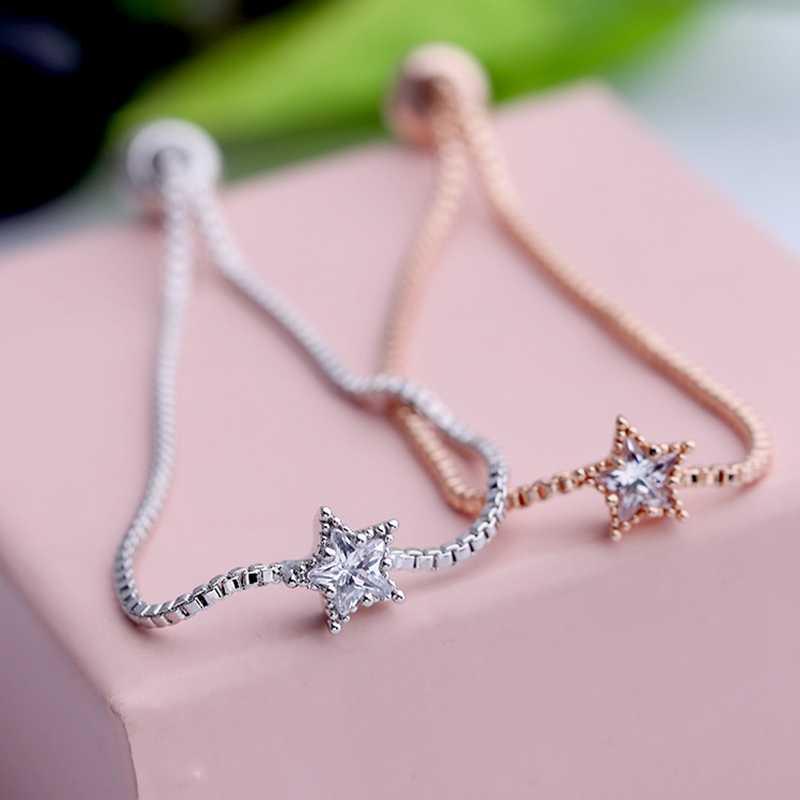 MIGGA cubique Zircon cristal étoile breloque chaîne Bracelet pour femmes mode Bracelet bijoux or/argent couleur