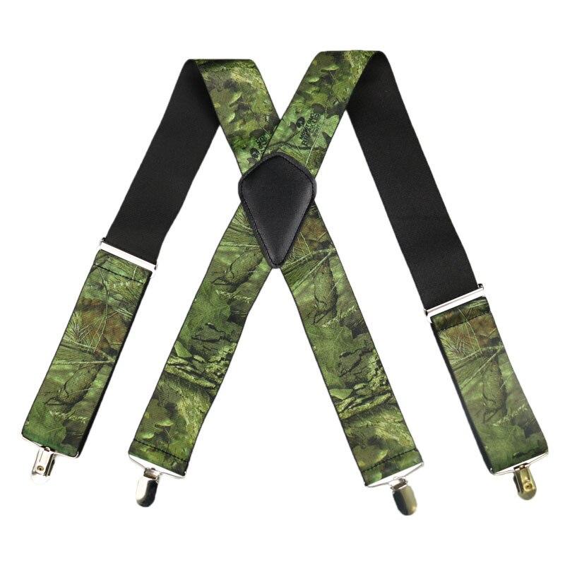 Winfox Suspensórios Masculinos Dos Homens Do Vintage Militar Ampla 5 cm Camuflagem Suspender Cinta do Homem Tático Suspensorio 4 Clips