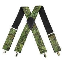 Winfox Vintage Men Military Suspenders Male Wide 5cm Camouflage Suspender Mans Brace Tactical Suspensorio 4 Clips
