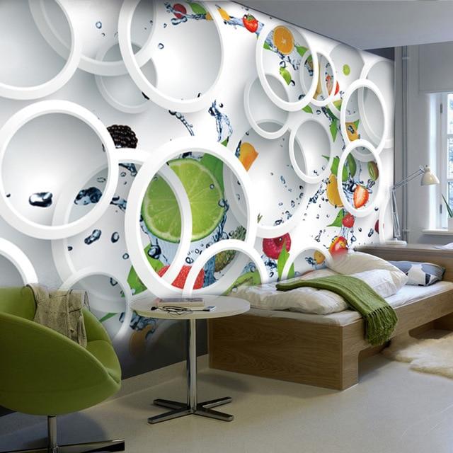 Benutzerdefinierte Wandbild Tapete 3D Stereoskopischen Moderne Kunst Grosse Wandmalerei Frucht Kreise Wohnzimmer Restaurant Fotowand Papier