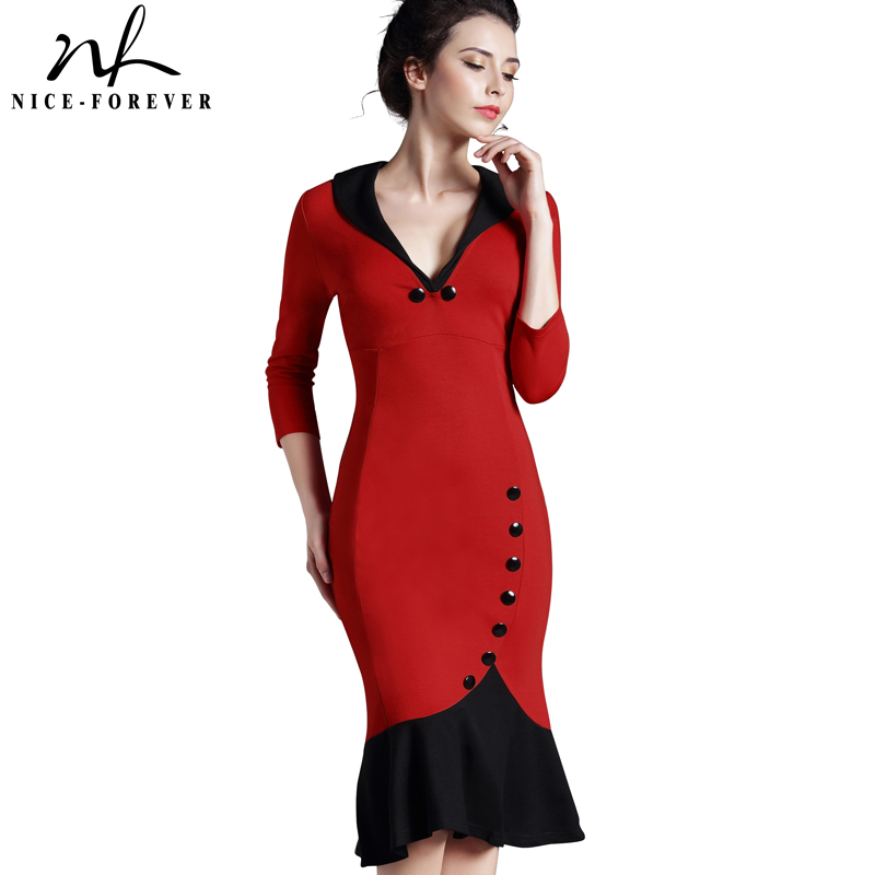 Nice-forever Mermaid Button Autumn 3/4 Sleeve red Nuevo vestido Vintage Vestido en V de trabajo formal bodycon office Wiggle Midi dress b27