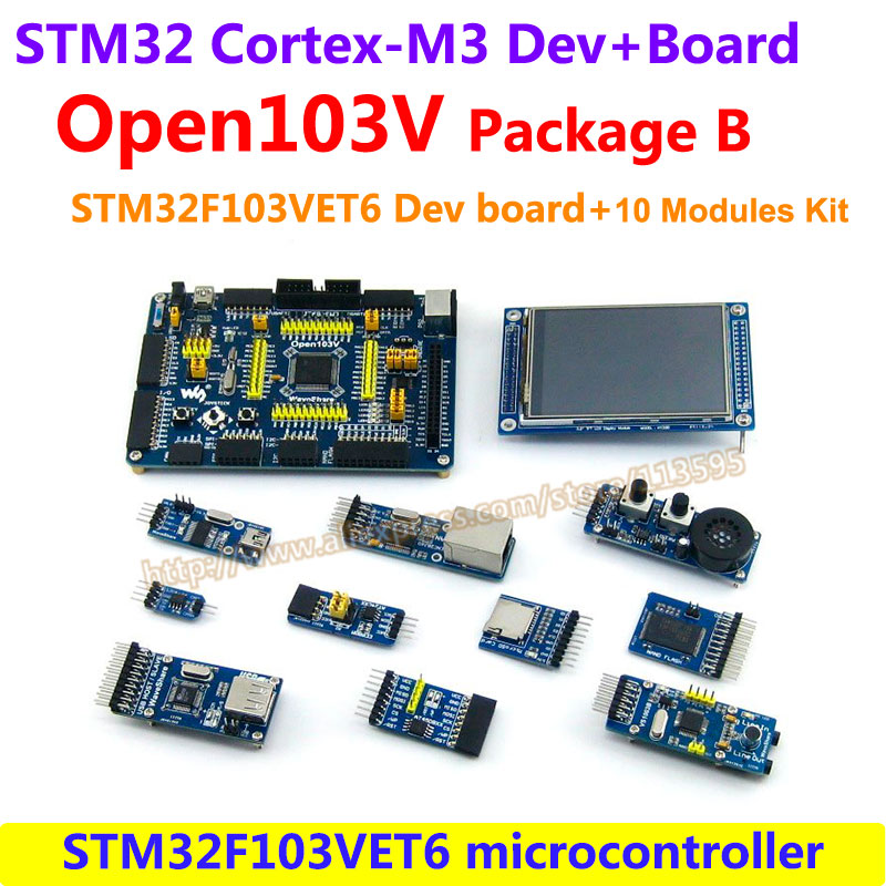STM32 Board STM32F103VET6 STM32F103 ARM Cortex-M3 STM32 Development Board(72MHz)+10pcs Accessory Modules=Open103V Package B module stm32 arm cortex m3 development board stm32f107vct6 stm32f107 8pcs accessory modules freeshipping open107v package b