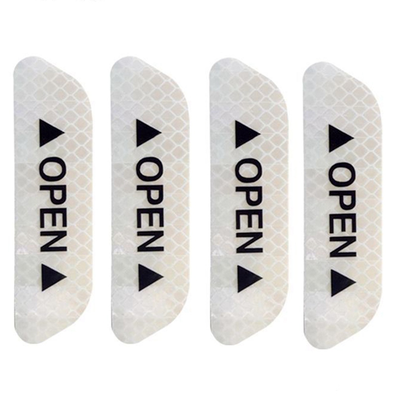 Image 3 - 4Pcs/Set Car OPEN Reflective Tape Warning Mark Reflective Open Notice Bicycle Accessories Exterior Car Door Stickers DIY-in Car Stickers from Automobiles & Motorcycles