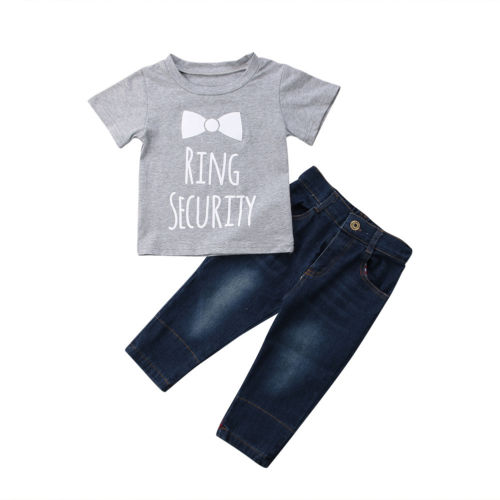 2PCS New Toddlers Baby Boys Letter Print T-shirt Tops+Jeans Long Pants Outfit Summer Causal Clothes Sets 1-6T