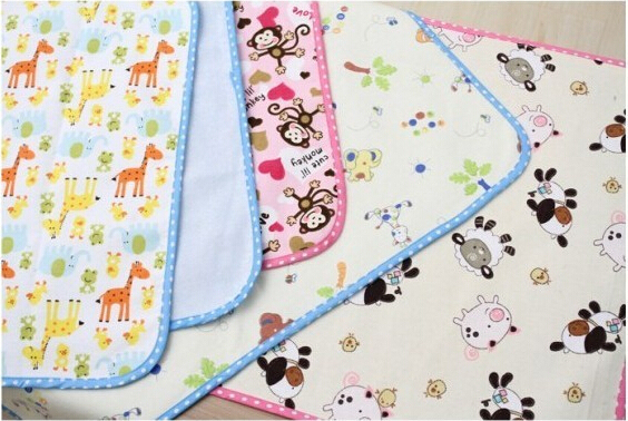 2 sides 3 layers 35X45/45X70/70x100cm baby flannel waterproof pad