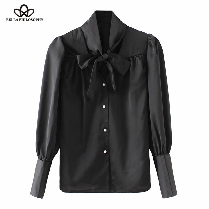 Bella Philosophy Spring Summer chiffon women blouse satin Shirt ladies silk blouse top long sleeve bow tie female blusas pearl белая рубашка с объемными рукавами и вырезом