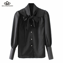 Bella Philosophy Spring Summer chiffon women blouse satin Shirt ladies silk blouse top long sleeve bow tie female blusas pearl(China)