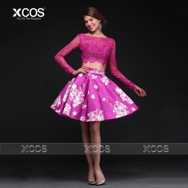 7abfbe9f9aa7 Fuschia Crop Top Two Piece Homecoming Dress Floral Print Long Sleeve Lace  Cocktail Party Dresses Vestido