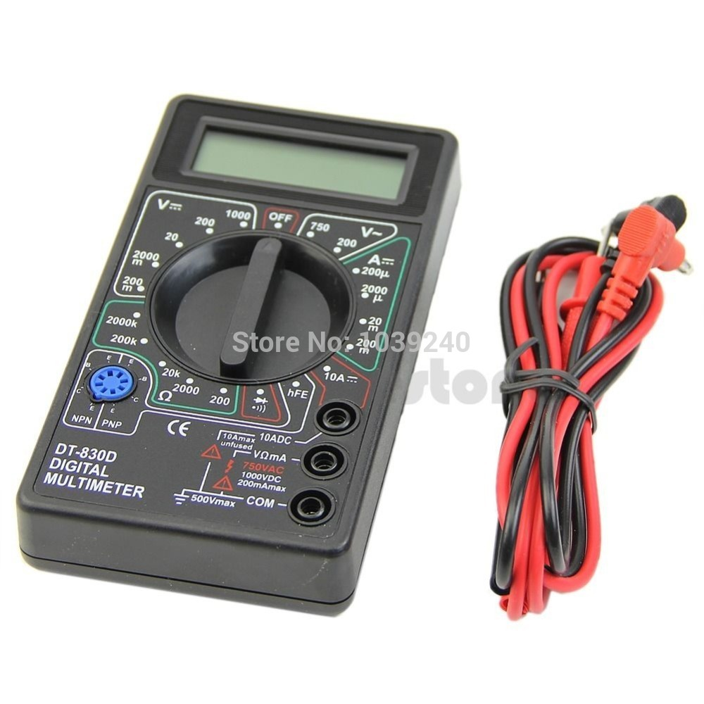 Hot Sale E74 Mini Digital Multimeter with Buzzer Voltage Ampere Meter Test Probe DC AC LCD