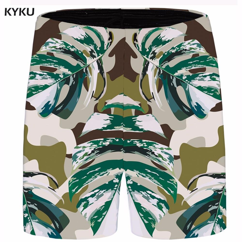 KYKU Brand Leaf Short Men Vintage Cool Camo Shorts 3d Print Cargo Beach Casual Shorts Harajuku Anime Mens Summer 2018 New