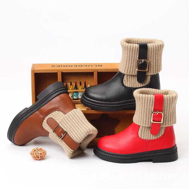 2016 de Invierno de Cuero Real de La Muchacha Niños Botas Niños Coreanos Zapatos Tramo Tejer Lana Zapatos Calientes Martin Botas de Los Niños