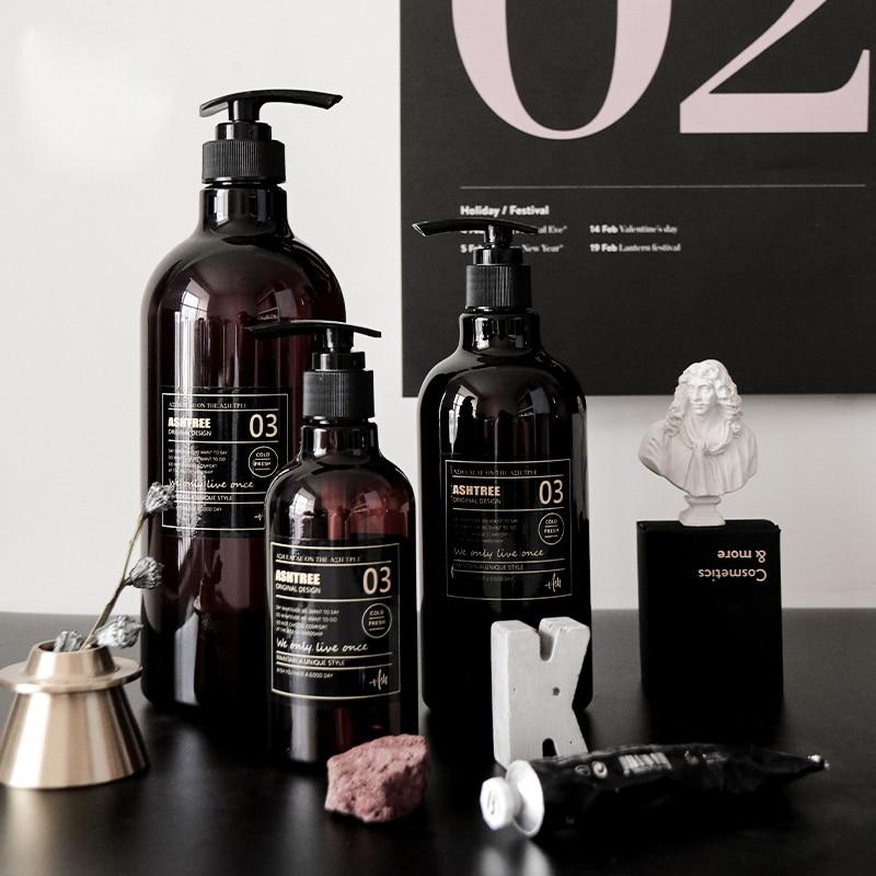 250 500ml Brown Scandinavian Bath Shampoo Storage Bottle Liquid Lotion Travel Storage Bottle Organizer Decor New
