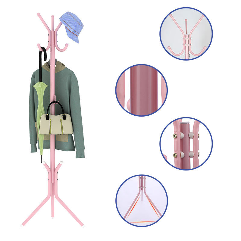 Coat Rack Stainless steel DIY Simple Assembly can be removed Bedroom Furniture Hanging storage clothes hanger wardrobe metal coatrack hanger with suction floor bedroom simple hanging clothes rack creative iron storage rack