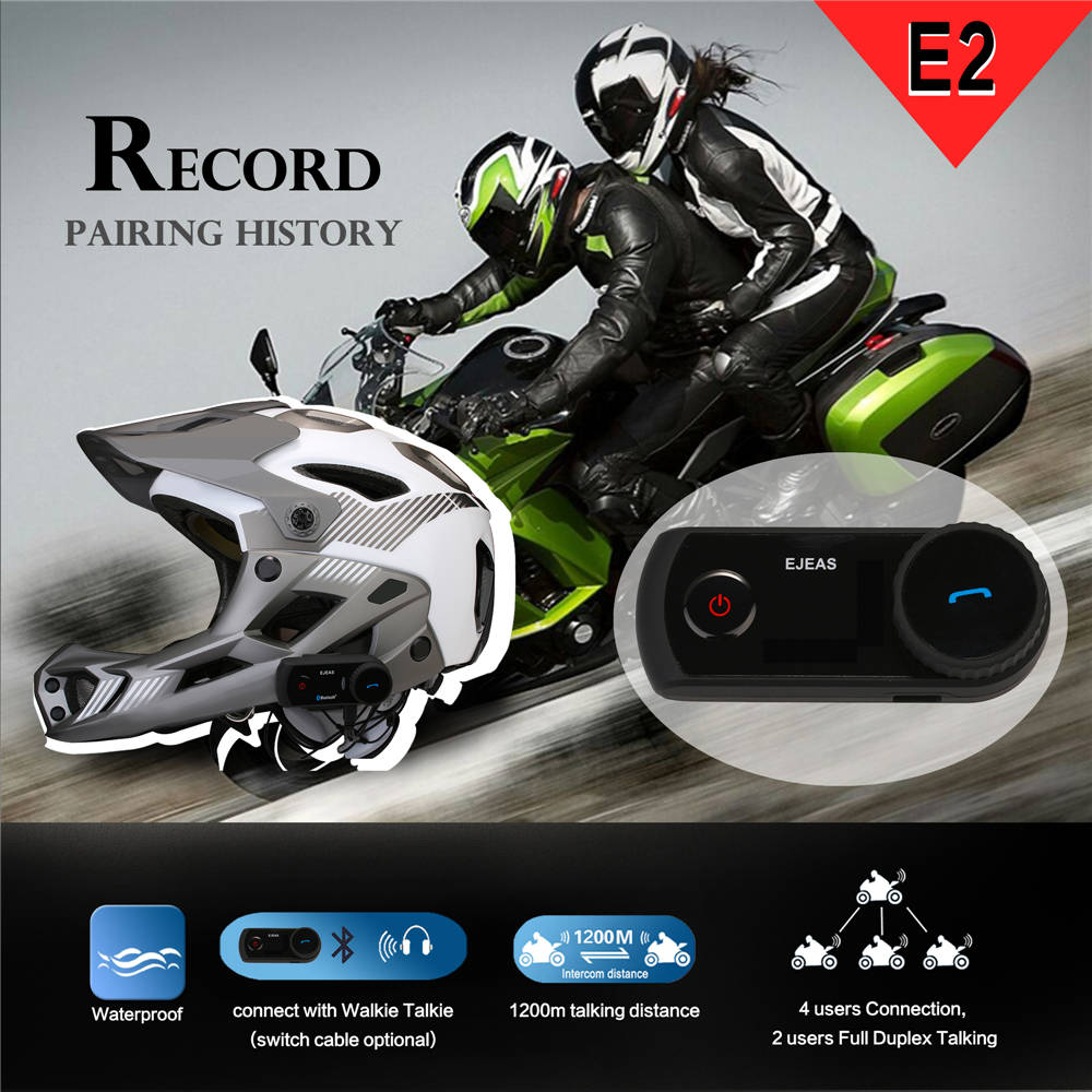 EJEAS Original VOX Motorcycle Helmet Intercom Bluetooth Moto Interphone Headset Soft Microphone Wireless Headset BT Interfone E2 in Helmet Headsets from Automobiles Motorcycles