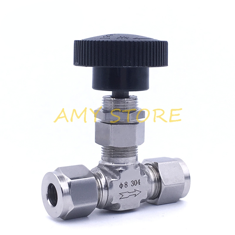 Stainless Steel 304 Pipe Shut Off Valve Air Flow Control Needle Valve Compression Fitting 1/8