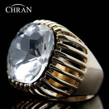 Chran Unique Luxury Square Stone Wide Rings Fashion Gold Color Crystal Promised Wedding for Women