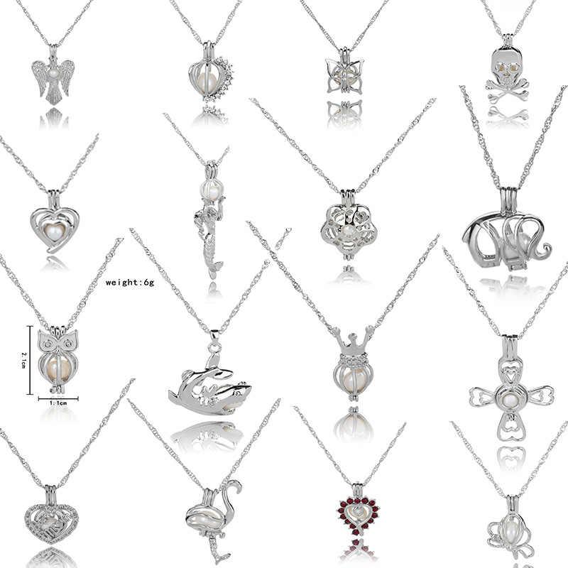 Minyak esensial Diffuser Perhiasan Semanggi Liontin Mutiara Kandang Liontin Liontin Kandang Untuk Tiram Mutiara, termasuk Rantai dan Mutiara