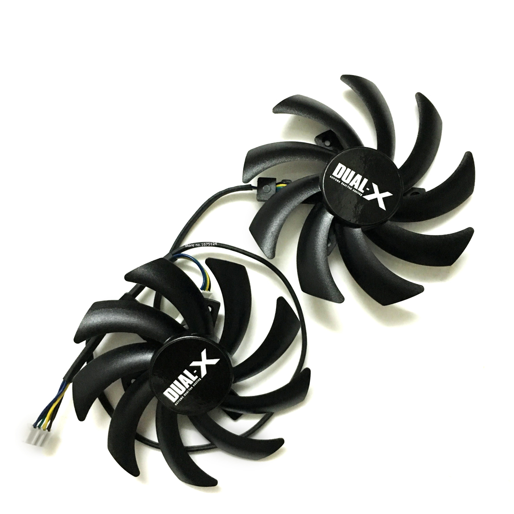 2Pcs/lot FD7010H12S DC 12V 0.35AMP 4Pin 85MM VGA Card Fan for Sapphire HD7870 HD7950 HD7970 HD7790 graphics card cooling qqv6 aluminum alloy 11 blade cooling fan for graphics card silver 12cm