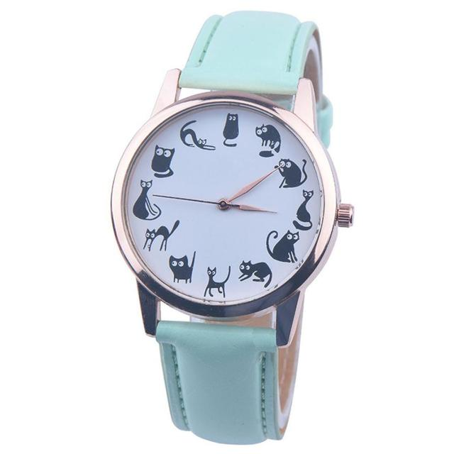 Fashion Women Leather Band Watches Famale Clock Ladies Elegant Cute Cat Dial Quartz Wrist Watch Relogio Feminino Relojes #YL