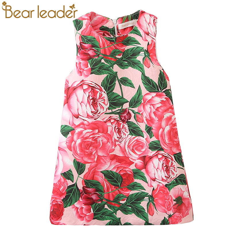 Bear Leader Girls Dress 2017 New Summer Style Printing Girls Clothes Sleeveless Rose Floral Design for Girls Princess Dress 3-8Y bear leader girls dress 2016 brand princess dress kids clothes sleeveless red rose print design for grils more style clothes