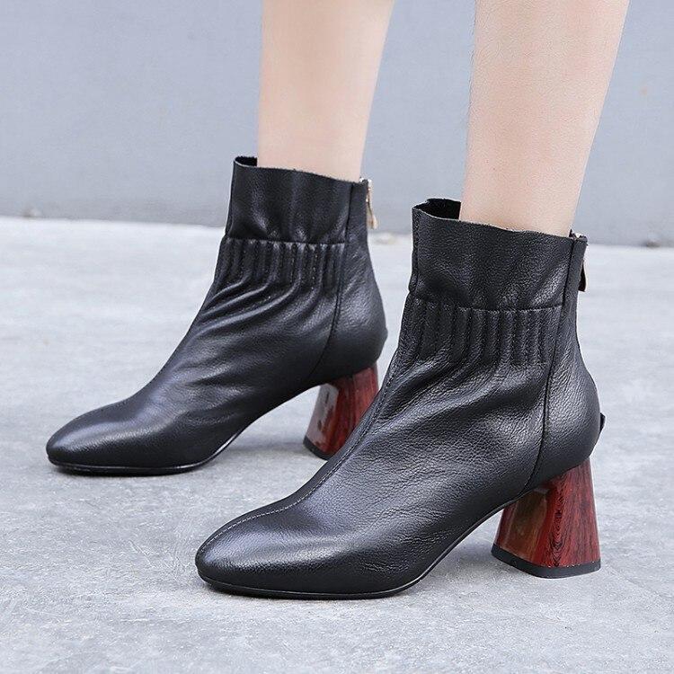 Mljuese 2019 여성 발목 부츠 암소 가죽 로마 스타일 지퍼 겨울 짧은 플러시 하이힐 여성 부츠 여성 부츠 크기 40-에서앵클 부츠부터 신발 의  그룹 1