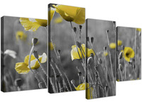 Yellow Grey Poppy Flower Poppies Floral Canvas Print On Canvas HD Print Split Wall Art 4 Pieces Drop shipping