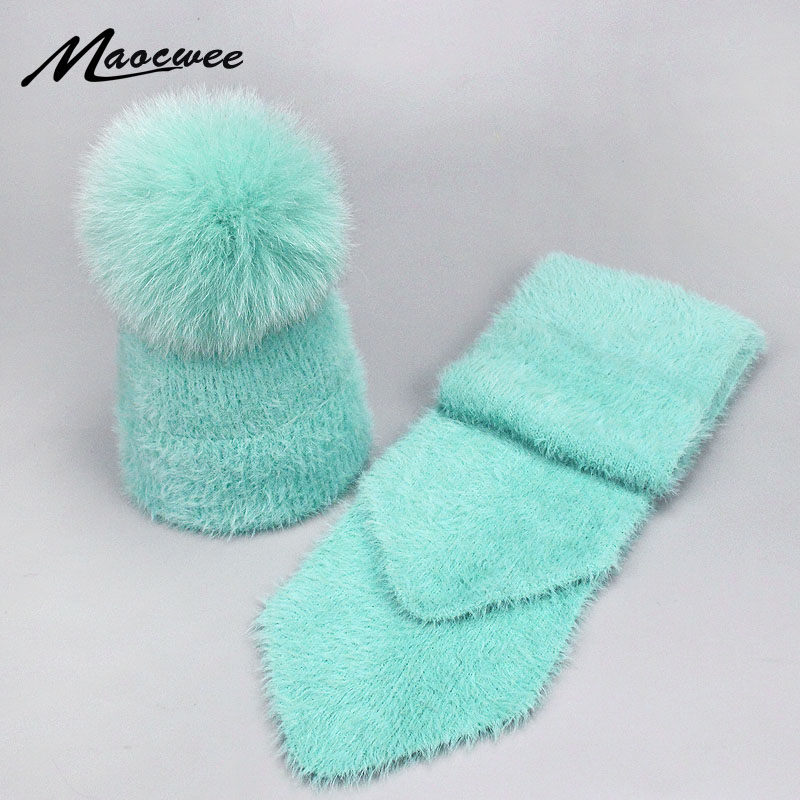 2 Pieces Set New Winter Fox Pompom Rabbit Fur Hat And Scarf For Women Girl Cotton Female Winter Knitted Hat Casual Solid Color